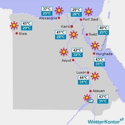 Wettervorhersage f�r Ägypten am Mittwoch