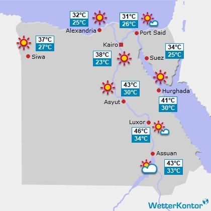 Wettervorhersage f�r Ägypten am Donnerstag