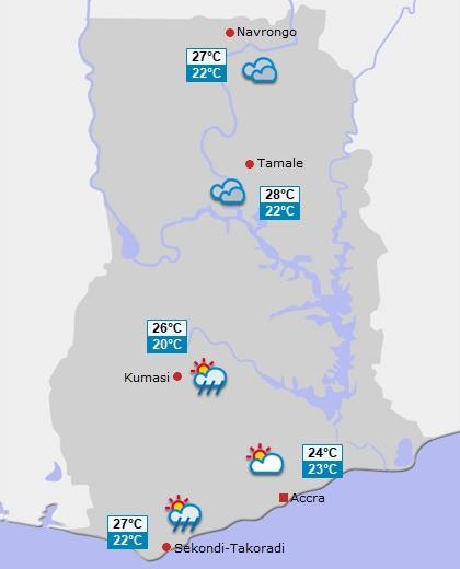 Wettervorhersage f�r Ghana am Montag