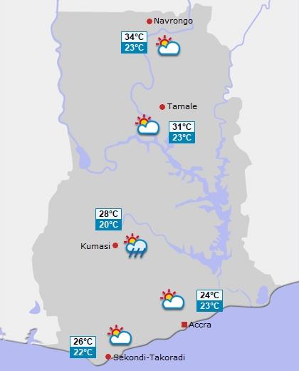 Wettervorhersage f�r Ghana am Sonntag