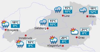 Vorhersage für Österreich Tag 1