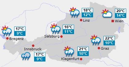 Vorhersage für Österreich Tag 3