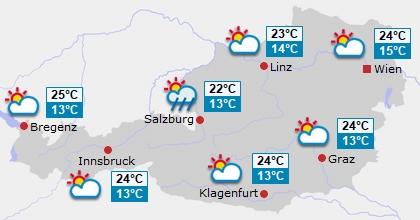 Vorhersage für Österreich Tag 4