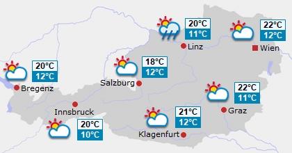 Vorhersage für Österreich Tag 5